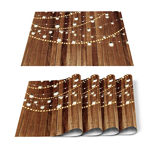 Sweet A Home Christmas Placemats for Dining Table Merry Christmas Lights Table Mats Set of 6, Retro Wood Grain Table Decoration Holiday Banquet Kitchen Dining Non Slip Washable