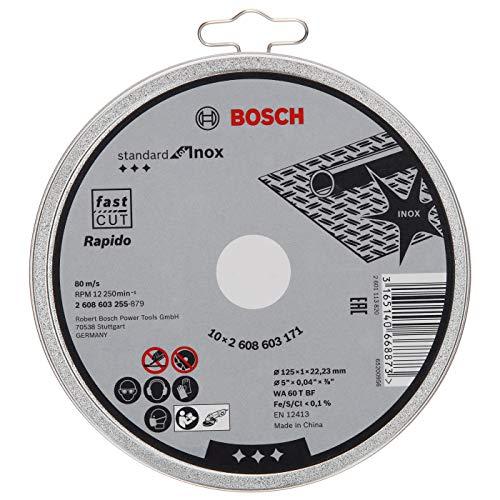 Bosch Professional 10 Stück Trennscheibe Standard für Inox Rapido WA 60 T BF (für Edelstahl, Ø 125 mm, gerade, Zubehör Winkelschleifer)