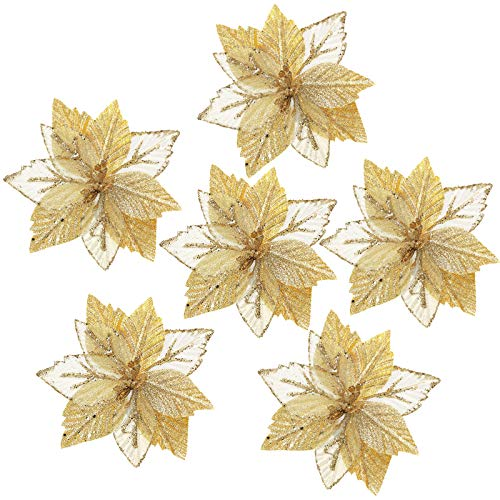 FUNARTY 14-Pack Glitter Poinsettia Christmas Tree Ornaments Artificial Christmas Flowers for Christmas Tree Wreaths Garland Holiday Decorations, 6.7-Inch (Gold)