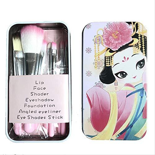 Kit de pinceau de maquillage 7 pièces de dessin animé Set de boîte de fer Outil de maquillage pinceau cadeau