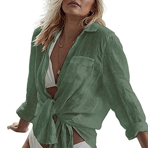 Vestido Playa para Mujer Camisa de Manga Larga Poncho de Playa Casual,Verde, Talla única