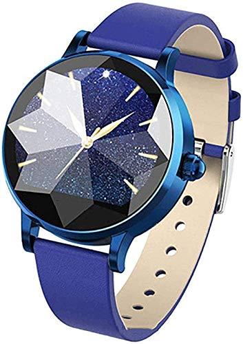 Señoras reloj inteligente Hermoso espejo de diamante gestión de la salud función diosa 5 colores correa de cuero regalos para las mujeres Rojo-Rojo-Azul-Azul