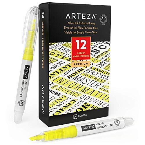 Arteza Vloeibare highlighters (geel), Set van 12 gele markeerstiften met een smalle, schuine punt, voor je bullet journal, aantekeningen of boeken