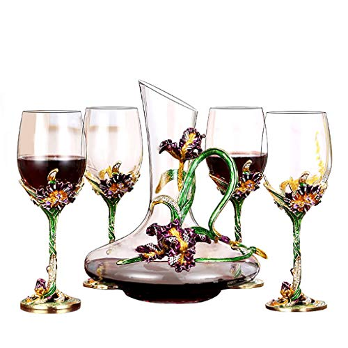 QAHJB Enameled Red Wine Glass Goblet Suit, Decanter, Set of 2/4 (Size : 4 pack)