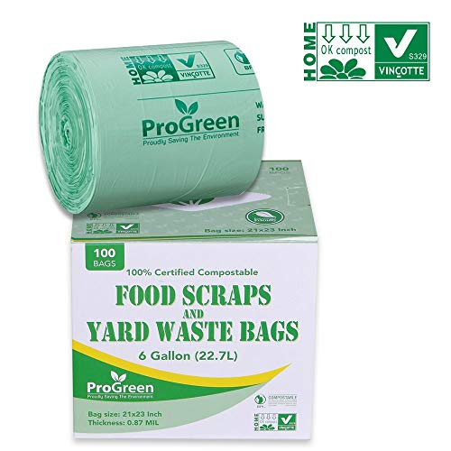 ProGreen 100% Compostable Bags 6 Gallon, Extra Thick 0.87 Mil, 100 Count, Small Kitchen Compost Trash Bags, Food Scraps Yard Waste Bags, Compost Biodegradable ASTM D6400 BPI And VINCOTTE Certified