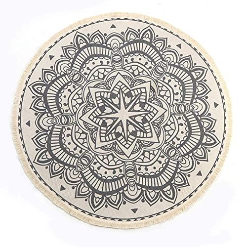 SHACOS Runde Teppiche Baumwolle mit Quasten Handgewebte schicke böhmische Mandala Bedruckte Muster-Baumwollteppich 120x120cm Waschmaschinenfest,Ideal für Wohnzimmer,Schlafzimmer usw.