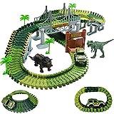 BAKAJI Playset Pista Macchinine Flessibile Parco dei Dinosauri Giocattolo per Bambini con Macchinina Luci LED a Batteria Dinosauro T-Rex Triceratopo e Altri Inclusi + Accessori Gioco Pista (142 pz)
