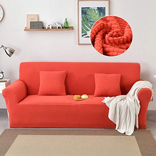 ASCV Elastic Sofa Cover for Living Room Stretch Slipcover Solid Color Funda Sofa Chair Couch Cover A7 3 Seater