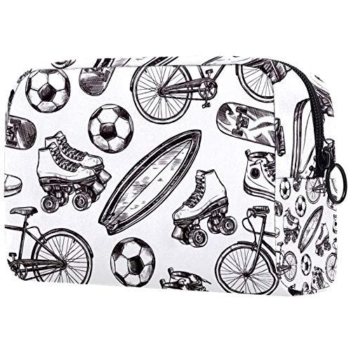 Mädchen Kosmetiktaschen Frauen Make-up Tasche Toilettenartikel Organizer Tasche mit Reißverschluss 7,3x3x5,1 Zoll Fußball Rollschuh Muster