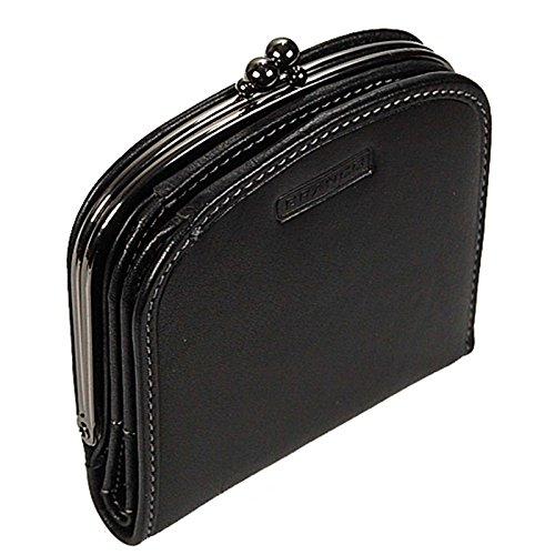 Branco Damenbörse Portemonnaie Geldbeutel Bügelbörse Damen Geldbörse Leder GoBago (Schwarz)