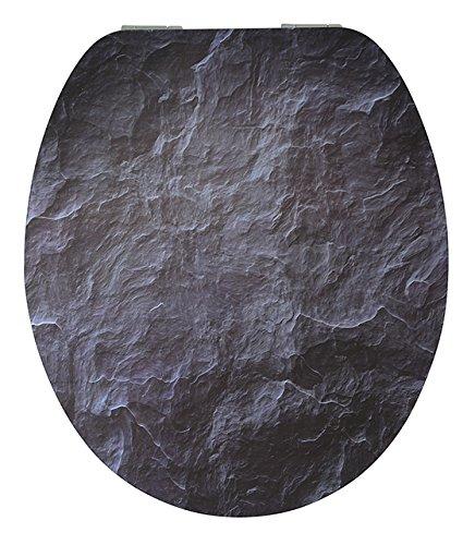 EISL EDHGBS01 BLACK STONE WC Sitz, High Gloss Dekor, mit Absenkautomatik, Motiv, 47.4 x 38.2 x 6.2 centimeters