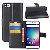 BLU Grand M Case, Fettion Premium PU Leather Wallet Flip Phone Protective Case Cover with Card Slots and Magnetic Closure for BLU Grand M Smartphone (Wallet - Black)