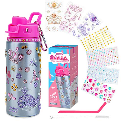 Decorate Your Own Water Bottle for Girls with Lots of Glitter Gem Stickers  BPA Free Fun DIY Arts and Crafts Activity Surprise Fun Gifts with a reusable EcoFriendly Straw and Nail Stickers