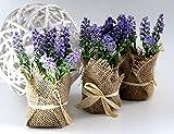 LB H&F 3er Set künstliche Pflanzen Lavendel Kunstpflanze als Dekopflanze mit Topf Deko