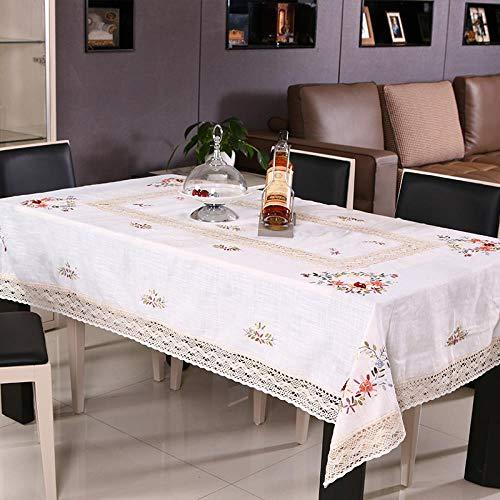 WWD Tovaglia Rettangolare in Cotone Pastello E Lino Ricamato A Mano Tavolo Semplice Tovaglia Rettangolare