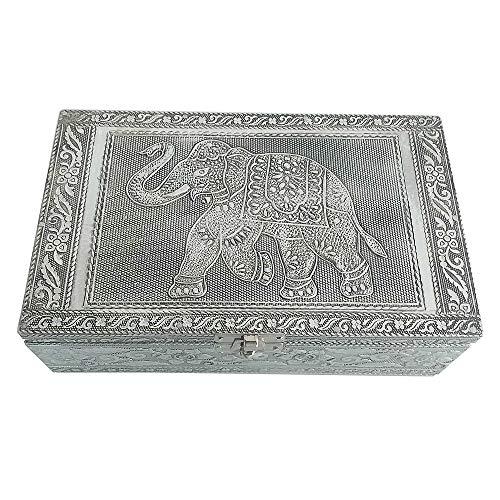 HAB & GUT -BOX017- Schmuckbox aus Aluminium, Elefant 20 x 12 x 6 cm