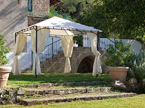 My Garden Gazebo Rodi, con Tende, 3 x 3 Metri, Ecrù