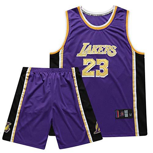 SSRSHDZW NBA Lakers James No. 23 - Uniforme de baloncesto, cuello redondo, bordado, conjunto de uniforme de baloncesto, artesanía, uniforme, lila, 3XL