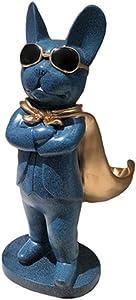 Resina de estatua de bulldog azul, estatuas, esculturas, decoración para el hogar, adornos para el hogar y el jardín, adornos de decoración de interiores, se puede usar para almacenar artículos