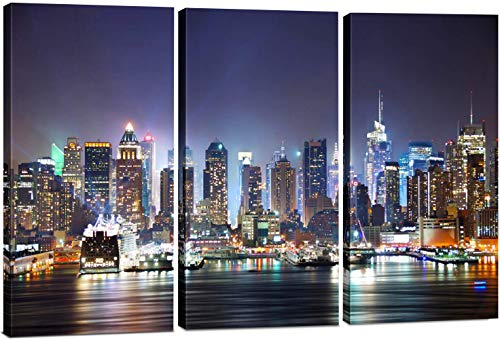 New York City Wall Art, 3 Panel Modern NYC Skyline Print Photograph, Hanging Decorative Canvas Painting Artwork for Bedroom, Kitchen, Office, Living Room, Home Decor Gift, 24' x 36'