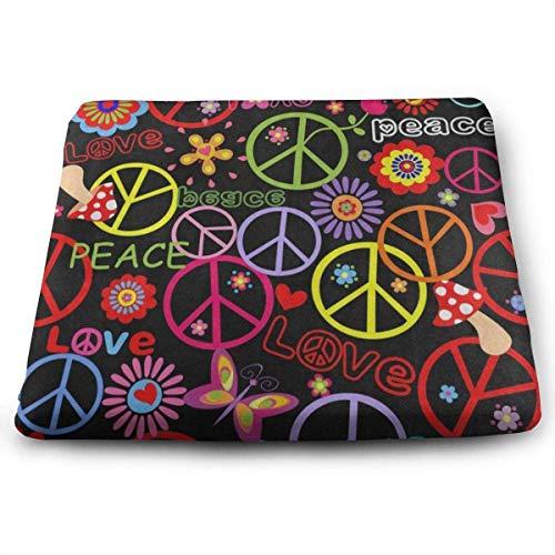N/A quadratische Sitzkissen Hippie Peace Pilz bunt Premium Komfort Memory Foam Küche Stühle Pad für Terrasse, Büro, Küche, Schreibtisch, Reisen, Kinder, Yoga, LKW, Fahrer, Auto