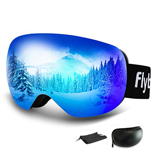 Flyboo Occhiali da Sci, Maschera per Snowboard Grande e Sferica Senza Cornice Protezione UV400 al 102% Anti-Fog Lenti per Uomo e Donna