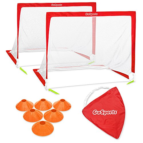 GoSports Portable Pop Up Soccer Goals for Backyard - Kids & Adults - Set of 2 Nets with Agility Training Cones and Carrying Case (Choose from 2.5', 4' and 6' Sizes)