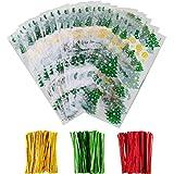 100 Pezzi Sacchetti di Cellophane Halloween Natale Borse Trattare Trasparente Borse Goodies con 150 Pezzi Twist Tie per Fornitura di Festa (Stile 4)