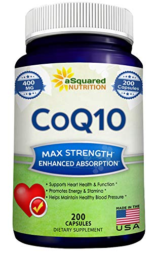 CoQ10 (400mg Max Strength, 200 Capsules) - High Absorption Vegan Coenzyme Q10 Ubiquinone Supplement...