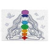 Rompecabezas de 1000 Piezas,Rompecabezas de imágenes,Chica espiritual de Chakra en Lotus con coloridas piedras de,Juguetes puzzle for Adultos niños Interesante Juego Juguete Decoración Para El Hogar