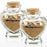 Handwriting Honeymoon Sand Keepsake Jar with Cork Lids Heart Shaped Glass Wish Bottles Romantic Travel Souvenir for Newlyweds Couple (2)