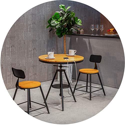 N/Z Tägliche Ausrüstung Hocker Barhocker Esstisch Set 3-teiliges rustikales Frühstück Bistro Pub Tisch mit 2 Stühlen für Küche und Restaurant