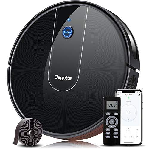 Bagotte BG700 Robot Aspirapolvere, 1600Pa Aspirazione Potente, con Connessione Wi-Fi e App da Remoto, 55DB Silenzioso, 100Min di lavoro, AntiCaduta, per Peli di Animali Domestici, Pavimenti, Tappeti