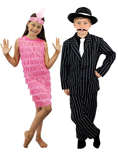 I LOVE FANCY DRESS LTD Déguisement pour Enfant de Couple Gangster Style Charleston avec Filles Robe à Franges Rose + Bandeau. XL. et Garcons Chapeau + Veste + Pantalon + Cravate. XL