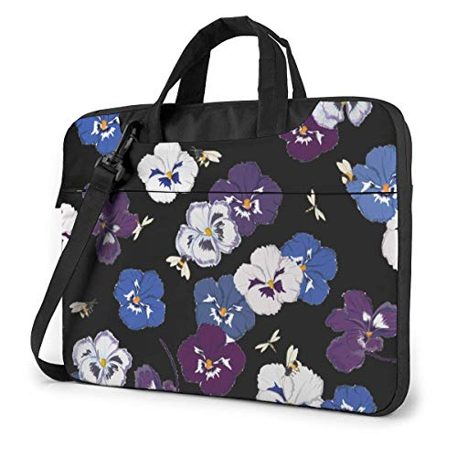 15.6 inch Laptop Shoulder Briefcase Messenger Pansy Flower with Dragonfly Bumble Bees Tablet Bussiness Carrying Handbag Case Sleeve