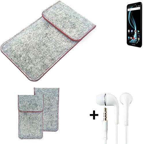 K-S-Trade® Handy Schutz Hülle Für Allview X4 Soul Infinity L Schutzhülle Handyhülle Filztasche Pouch Tasche Case Sleeve Filzhülle Hellgrau Roter Rand + Kopfhörer