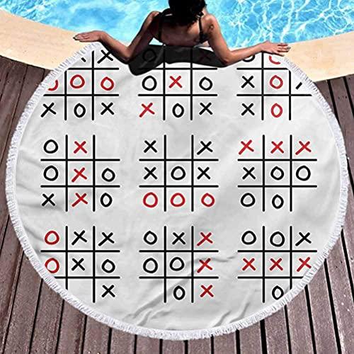Toalla de Playa Redonda Gruesa XO Ultra Soft Super Water Absorbent Tic TAC Toe Game Set Art Secado rápido, Ligero, Toallas de Secado rápido, sin Arena (diámetro 59 ')