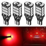 ALOPEE 4-Pack 921 912 922 T15 W16W T10 Brillant Rouge 12V-24V Non-Polarité Canbus Sans Erreur AK-4014 45pcs Chipsets Ampoules LED pour Centre de Voiture Feux de Freinage de Stop