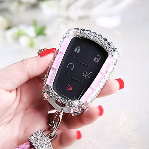YJLOVK Para Diamond Crystal Car Key Cover Case Holder para Cadillac ATS-L XTS XT5 CTS CT6 ATS 28T SRX Escalade Auto Remote Smart Accessories, A, Llavero Rosa
