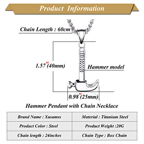 Xusamss Punk Titanium Steel Tool Hammer Pendant Necklace,24inches Link Chain