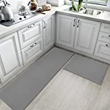 Kitchen Rugs and Mats Cushioned Anti Fatigue Comfort Runner Mat for Floor Rug Waterproof Standing Rugs Set of 2,18'x30'+18'x59', Grey