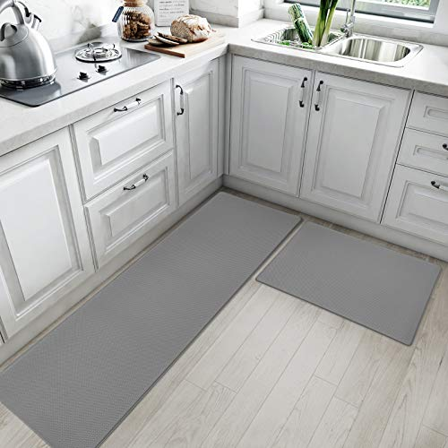 DEXI Kitchen Rugs and Mats Cushioned Anti Fatigue Comfort Runner Mat for Floor Rug Waterproof Standing Rugs Set of 2,17'x29'+17'x59', Grey