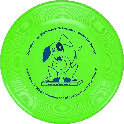 Eurodisc 135g Discdogging bissstarke Hunde Frisbee PuncMaster Fun Award NEONGRÜN