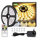 Lepro Ruban LED 10m, Bande LED Lumière Blanche Tunable(3000-6000K) Dimmable, Bandeau LED Autocollant 600 LEDs SMD 2835 avec Télécommande, Kit de Bande Lumineuse pour Meuble, Escalier, Chambre