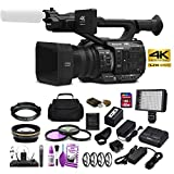 Panasonic AG-UX90E 4K-UHD FHD Camcorder (50 Hz/PAL Model) with Wide Angle Lens + Telephoto Lens + 3 Piece Filter Kit + LED Light + Carrying Case and More Studio Starter Bundle
