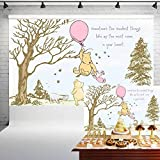 Classic Winnie The Pooh Baby Shower Backdrop for Girls Pink Balloon Pooh and Friends Birthday Banner for Cake Table Party Decorations Background 5x3 ft 61