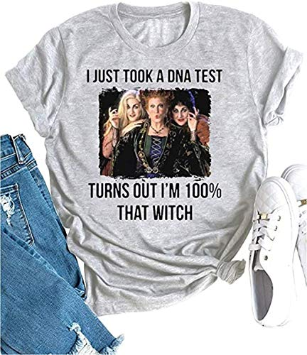 SUTEFAYECO I Just Take a DNA Test Risulta I'm 100% That Witch Shirt Donna Funny Sanderson Sisters Graphic Halloween T Shirt - grigio - L