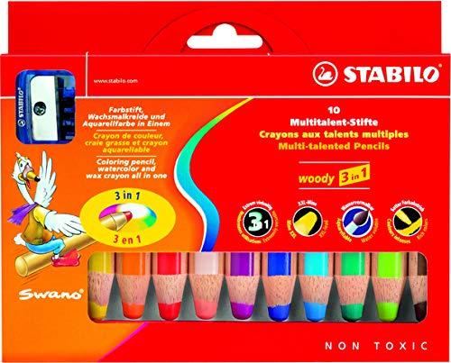 STABILO woody - Lápiz multitalento 3 en 1, estuche de 10 unidades, paquete de 10 unidades