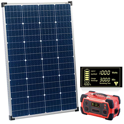 reVolt Solar Batterie: Powerbank & Solar-Konverter mit mobilem 110-Watt-Solarpanel, 216Ah (Solar Stromgenerator)