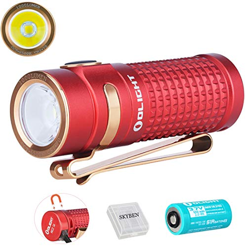 Olight S1R Baton II Red 1000 Lumens CW LED IMR16340 Magnetic Rechargeable Side-switch EDC Flashlight with Battery and Battery Box,Limited Edition Red (Standard Pack)